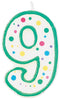 "Polka Dot Numeral Candle 3"" 1/Pkg-#9 Green"