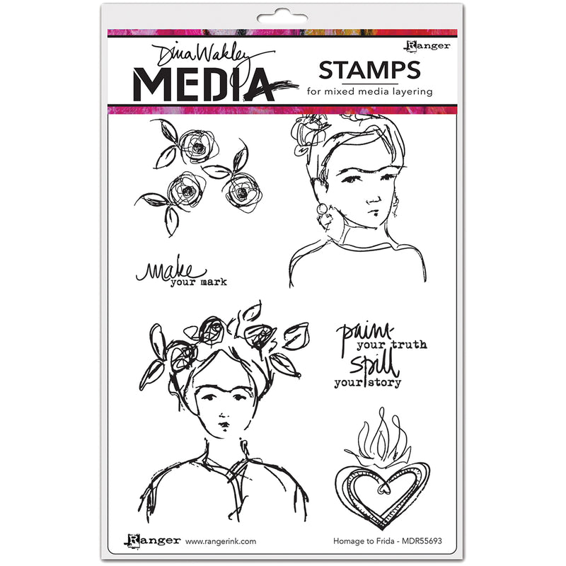 "Dina Wakley Media Cling Stamps 6""X9""-Homage To Frida"