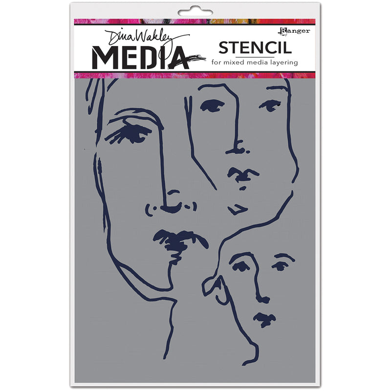 "Dina Wakley Media Stencils 9""X6""-Scribbled Faces"