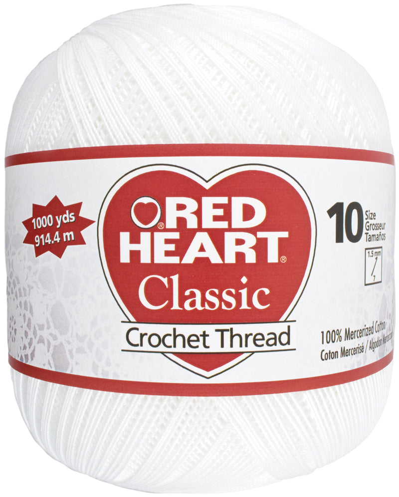Red Heart Classic Crochet Thread Size 10-White - Pens N More
