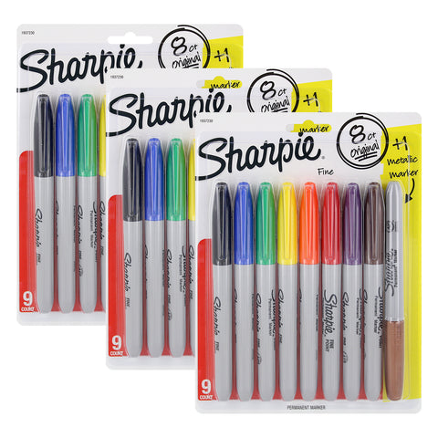 Sharpie Permanent Markers, Fine Point, Assorted Colors, Pack of 24 + 3 Metallic