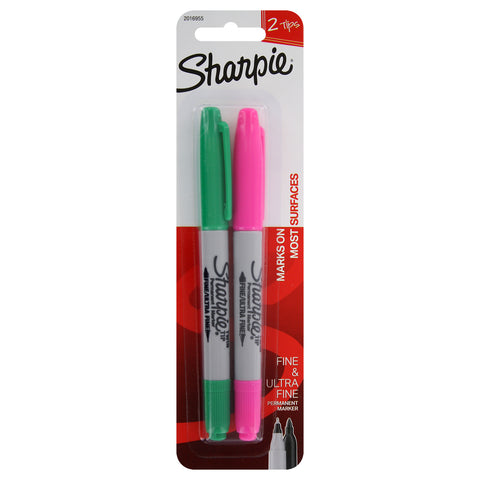 Sharpie Twin-Tip Permanent Markers, Fine/Ultra Fine Point, Assorted Colors, 2-Count