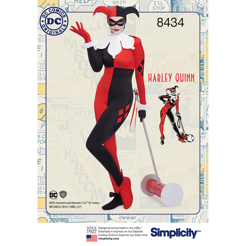 Simplicity Dc Comics Harley Quinn Misses Womens Knit Costume-10-12-14-16-18 - Pens N More