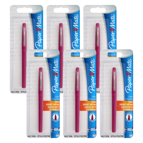 Paper Mate Flair Felt Tip Pens, 0.7mm, Medium Point, Magenta Ink, 6-Count