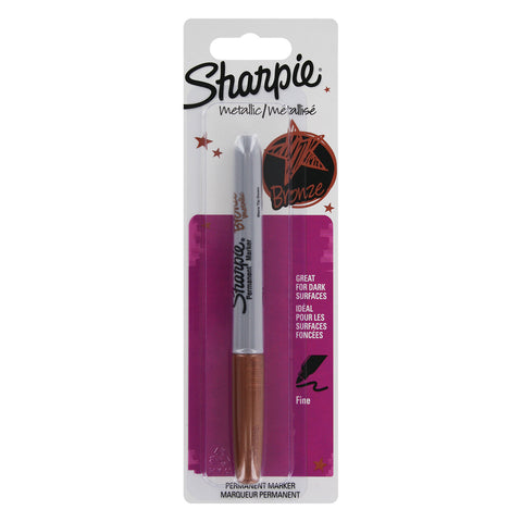 Sharpie Metallic Permanent Marker, Fine Point, Metallic Bronze, 1 Per Card