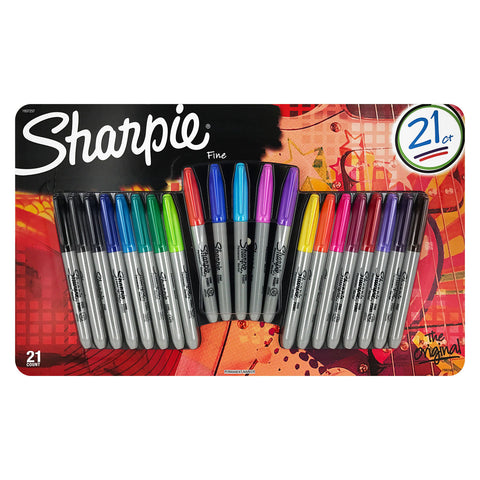 Sharpie Permanent Markers, Fine Point, Assorted Colors, Set of 21