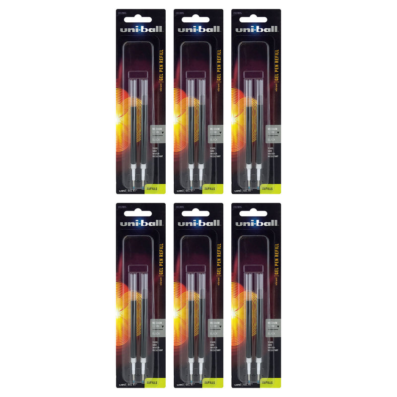 Uni-Ball Gel RT Retractable Gel Pen Refills, 0.7mm, Medium Point, Black Ink, Pack of 12
