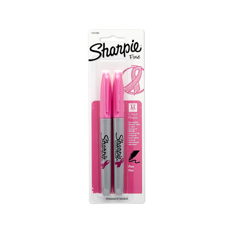 Sharpie Pink Ribbon Permanent Markers, Fine Point, Pink Ink, Pack of 2
