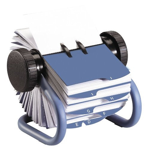 Rolodex Open Rotary Business Card File with 200 2-5/8 by 4 inch Card Sleeves and 24 Guides, Blue Finish (63299)