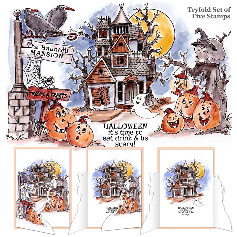 Art Impressions TryFolds Cling Rubber Stamps -Haunted House - Pens N More
