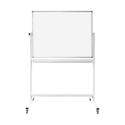 Thornton's Office Supplies Magnetic Reversible Mobile Dry Erase Whiteboard Easel, 48w x 36h, White/Silver