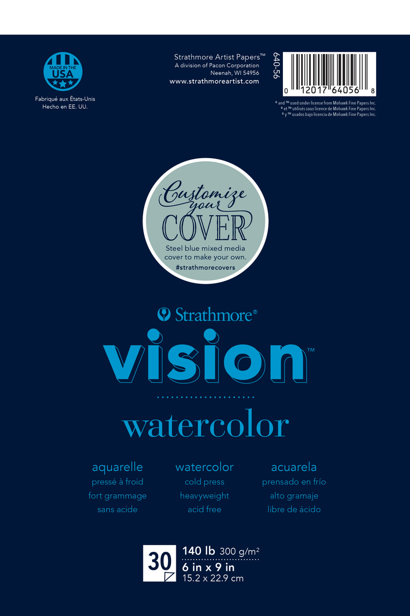 "Strathmore Vision Cold Press Watercolor Pad 6""X9""-140lb, 30 Sheets - Pens N More"