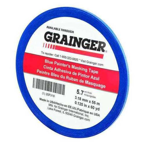 "Grainger Paper Painters Masking Tape, Rubber Tape Adhesive, 5.60 mil Thick, 1/8"" X 60 yd., Blue, 1 Roll"