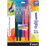 Pilot Frixion Ball ColorSticks Stick Erasable Gel Ink Pens, 0.7mm, Fine Point, Assorted Colors, Pack of 10