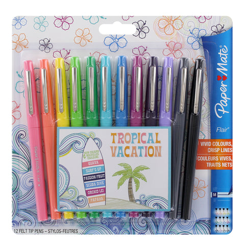 Paper Mate Flair Felt Tip Pen, 0.7mm, Medium Point, Assorted Tropical Vacation Colors, 12-Count