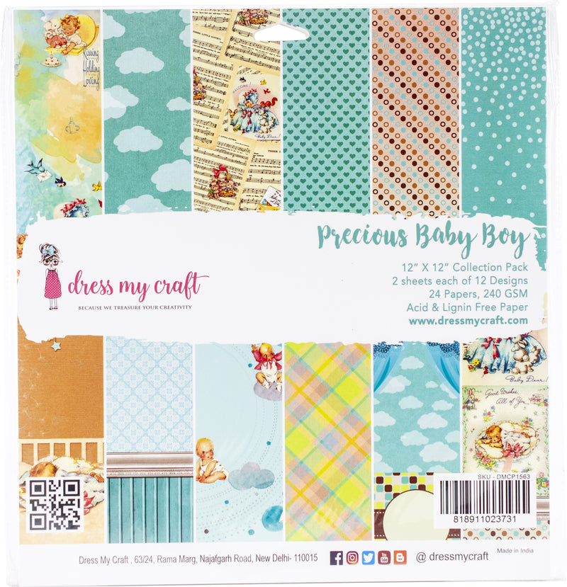 "Dress My Crafts Single-Sided Paper Pad 12""X12"" 24/Pkg-Precious Baby Boy, 12 Designs/2 Each - Pens N More"