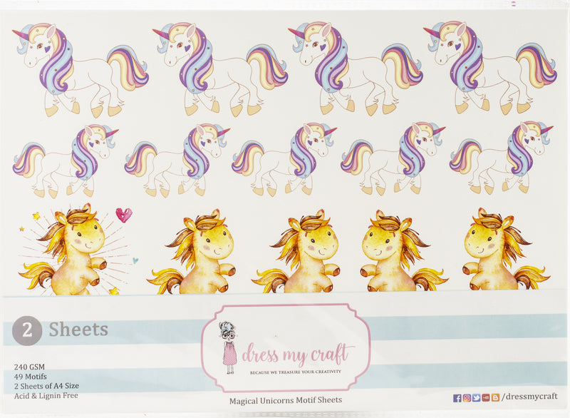 Dress My Craft Image Sheet 240gsm A4 2/Pkg-Magical Unicorn - Pens N More