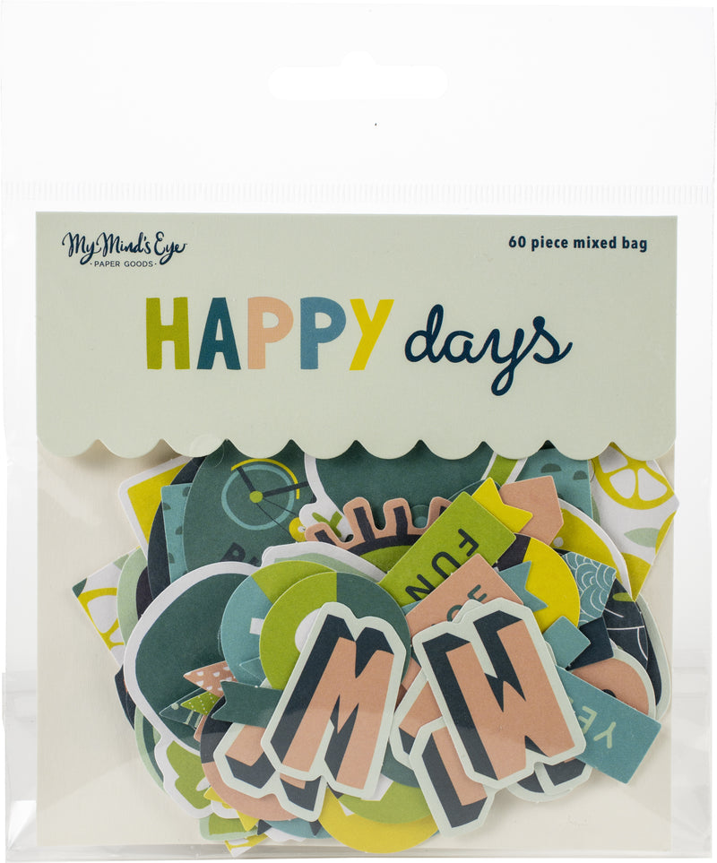 Happy Days Mixed Bag Cardstock Die-Cuts 60/Pkg- - Pens N More