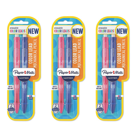 Paper Mate Clear Point Color Lead Mechanical Pencils, Blue and Pink, 6-Count