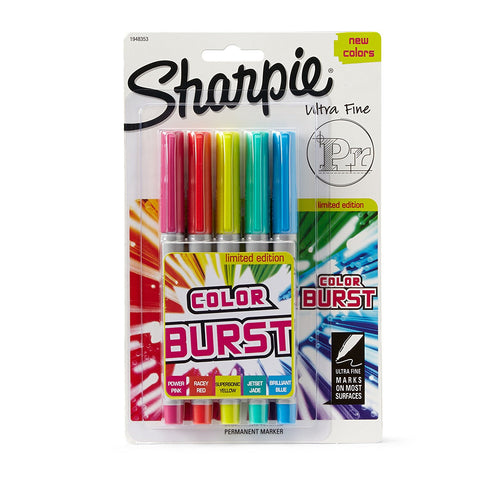 Sharpie Color Burst Permanent Markers, Ultra Fine Point, Assorted, 5-Pack (1948353)