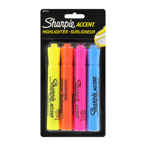 Sharpie Accent Tank Highlighters, Assorted, 4/pk