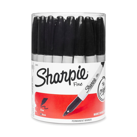 Sharpie Permanent Markers, Fine Point, Black Ink, 36-Count