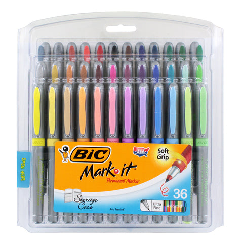 BIC Mark-It Color Collection Ultra Fine Permanent Marker, Assorted, 36 Markers