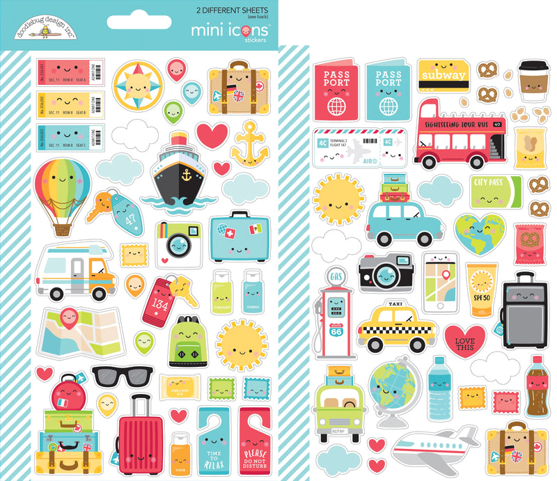 Dooblebug Mini Cardstock Stickers 2/Pkg-I Heart Travel Icons - Pens N More