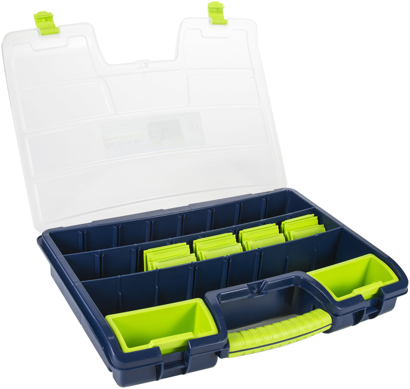 "Pro Art Storage Box W/2 Removable Trays-18""X12.5""X3"" Blue W/Translucent Lid - Pens N More"