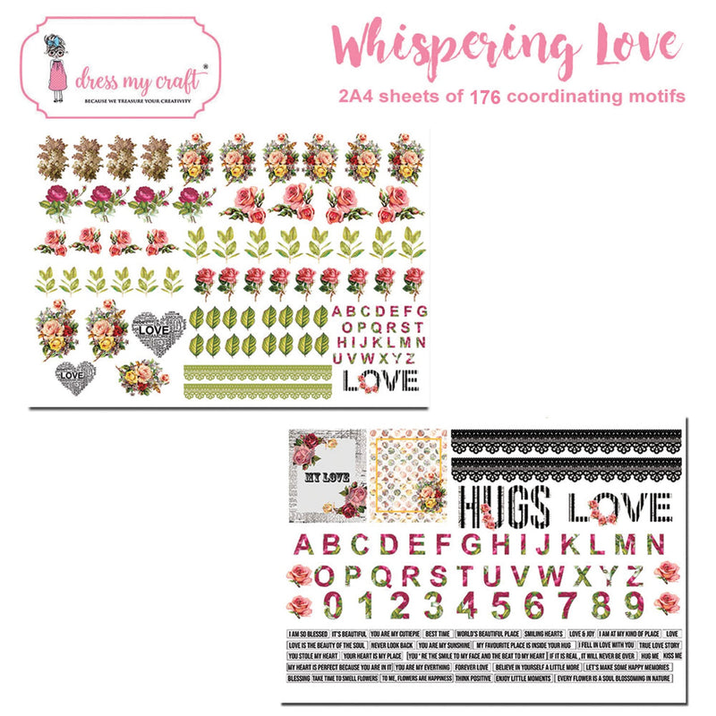 Dress My Craft Image Sheet 240gsm A4 2/Pkg-Whispering Love - Pens N More