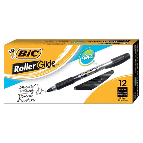 BIC Roller Glide Deco Rollerball Pen, 0.7mm, Fine Point, Black Ink, 12-Count