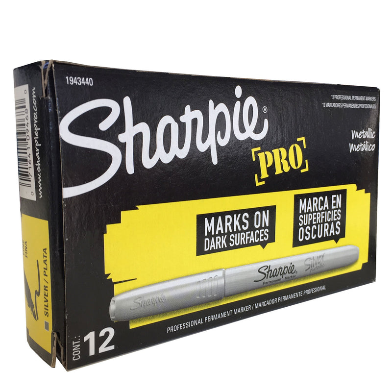 Sharpie Pro Permanent Marker, Fine Point, Metallic Silver, Pack of 12