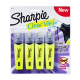 Sharpie Clear View Highlighters, Chisel Tip, Yellow, 4-Count