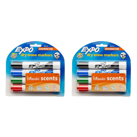 Expo Scents Dry Erase Whiteboard Markers, Chisel Tip, Assorted Colors, Pack of 8
