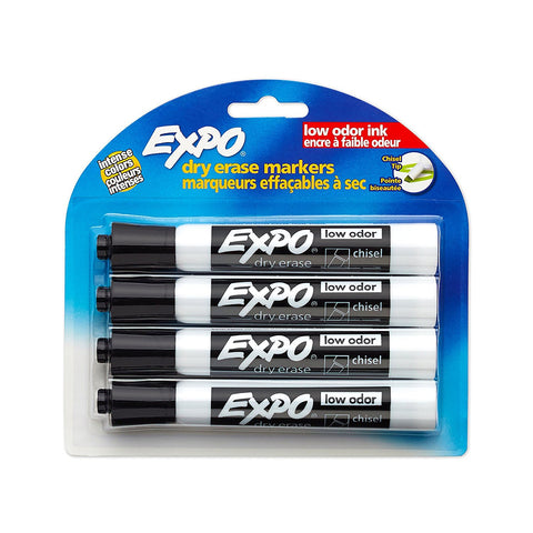 Expo Low Odor Dry Erase Markers, Chisel Tip, Black Ink, 4-Count (80661)