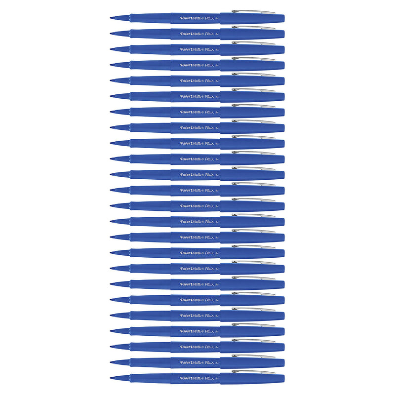 Paper Mate Flair Felt Tip Pens, 0.7mm, Medium Point, Blue Ink, 24-Count