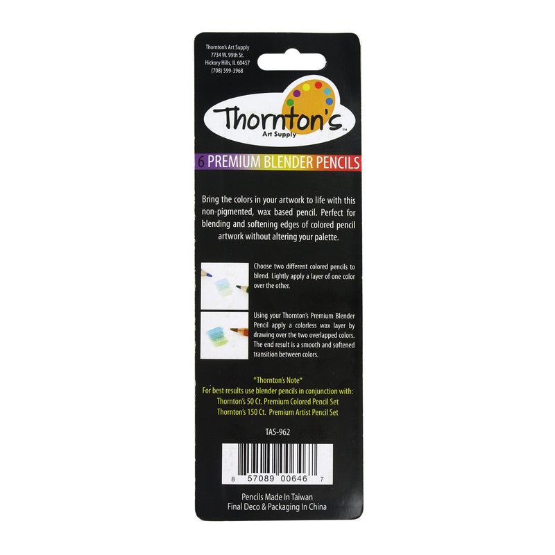 Thornton's Art Supply Premium Colorless Blender Pencils, Pack of 6