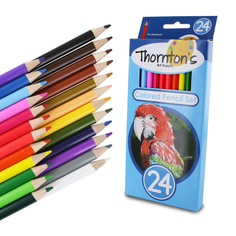 Thornton's Art Supply 24 Piece Colored Pencil Artist Drawing Set