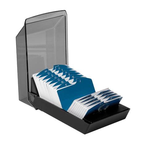 Rolodex Covered Business Card File, 500 2-1/4x4 Cards, 24 A-Z Guides, Black