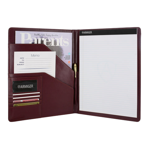 Armiger Executive Bonded Leather Professional Padfolio with Letter Size Notepad - Burgundy