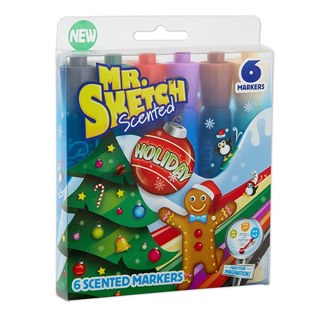 Mr. Sketch Scented Markers, Chisel Tip, Holiday Colors, 6-Count