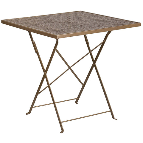 Flash Furniture 28'' Square Indoor-Outdoor Steel Folding Patio Table - Gold