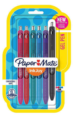 Paper Mate InkJoy Gel Pens, Medium Point, Assorted Colors, 6 Count