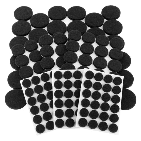 Junipers Heavy-Duty Premium Durable Self-Stick Felt Furniture Floor Pad Protectors, Assorted Sizes, Pack of 152 - Black