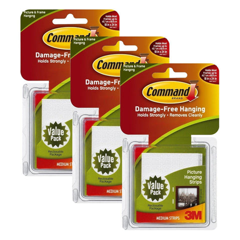 3M Command Medium Picture Hanging Strips, White, 36 Sets/Pack (MMM17204VPB)
