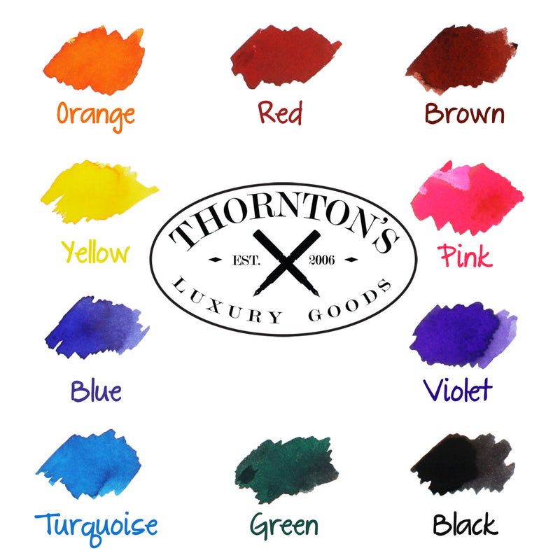 Thornton's Luxury Goods Short Standard International Fountain Pen Ink Cartridges, Yellow Ink, Pack of 12 - Pens N More