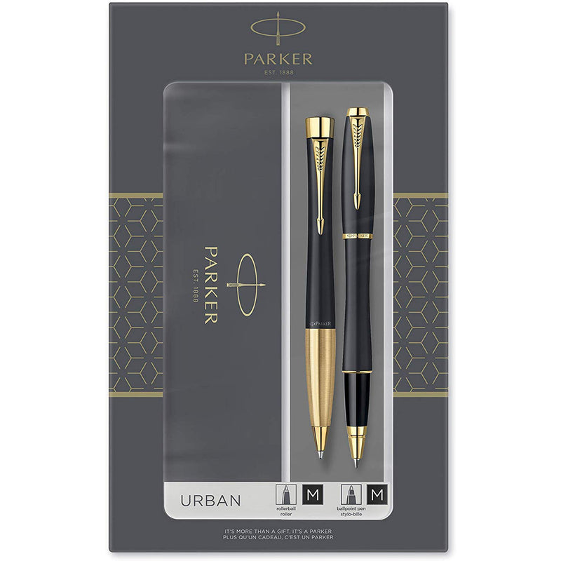 Parker Urban Duo Gift Set with Ballpoint Pen & Rollerball Pen, Muted Black with Gold Trim, Black Ink Refill & Cartridge, Gift Box