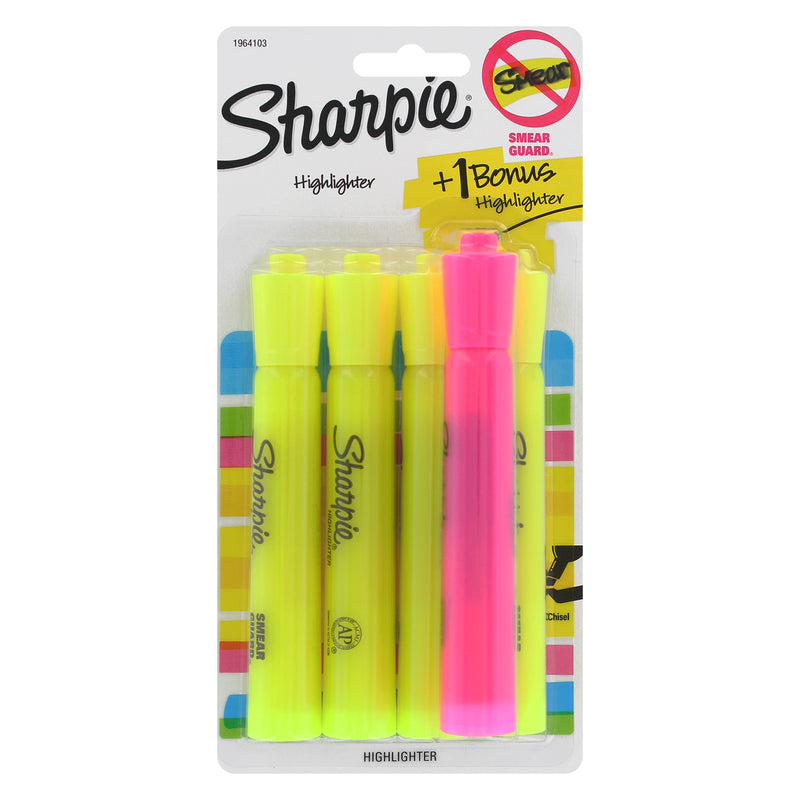 Sharpie Tank Highlighters, Chisel Tip, Yellow, 4-Count + 1 Bonus - Pens N More