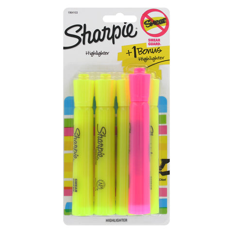Sharpie Tank Highlighters, Chisel Tip, Yellow, 4-Count + 1 Bonus