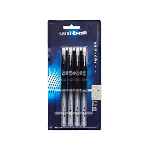 Uni-Ball Insight Stick Roller Ball Pens, 0.7mm, Fine Point, Black Ink, Pack of 4